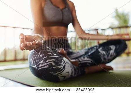Woman Body In Yoga Pose Meditating