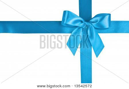 Bright blue bow on a white background poster