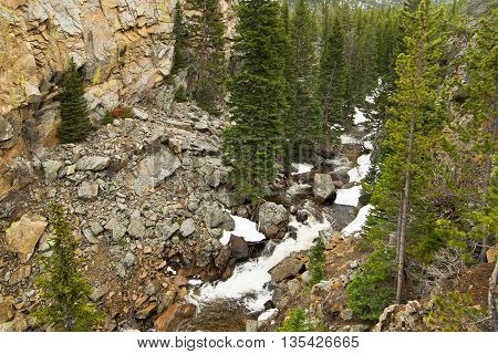 A wild creek in Rocky mountains in Coloredo