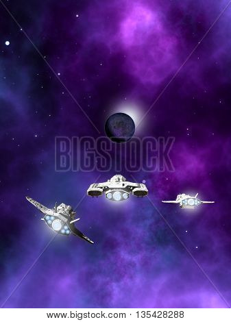 Science fiction illustration of a small fleet of three spaceships flying towards a dark planet and purple nebula in deep space, 3d digitally rendered illustration (3d rendering, 3d illustration)
