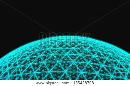 3D Illustration - Spherical blue grid on black background.