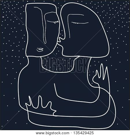 Two people on dark sky background. Kissing