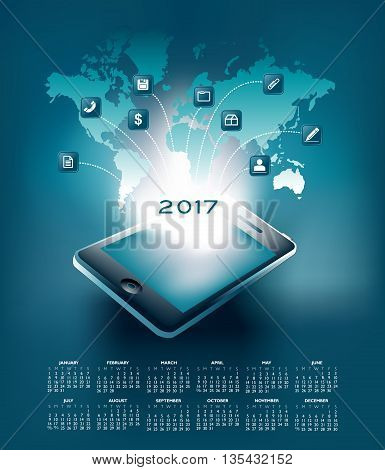 2017 mobil technology calendar, ideal for print or web use