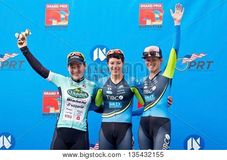 ST. PAUL, MINNESOTA - JUNE 15, 2016: Winners podium at North Star Grand Prix pro cycling event time trial in St. Paul on June 15 from left are Lauretta Hanson, Brianna Walle and Lauren Stephens.