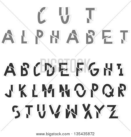 Cut sliced alphabet. Dissected vector font on white background