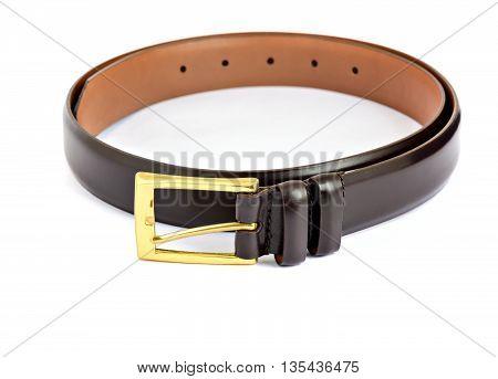 Leather burgundy belt isolated on white background