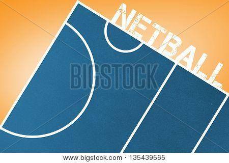 Netball message on a white background against orange vignette