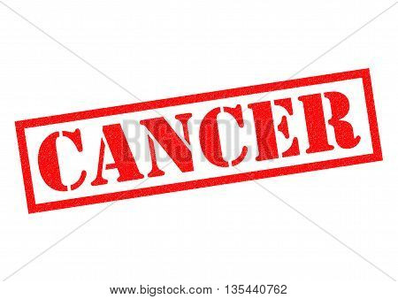 CANCER red Rubber Stamp over a white background.