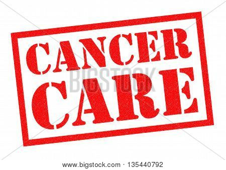 CANCER CARE red Rubber Stamp over a white background.