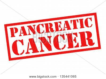 PANCREATIC CANCER red Rubber Stamp over a white background.