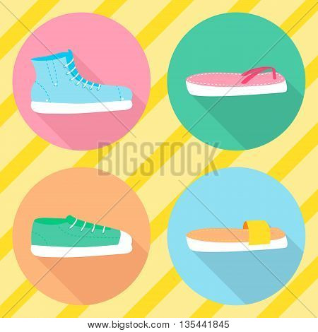 Vector various types of summer shoes. Flat style. Side view.