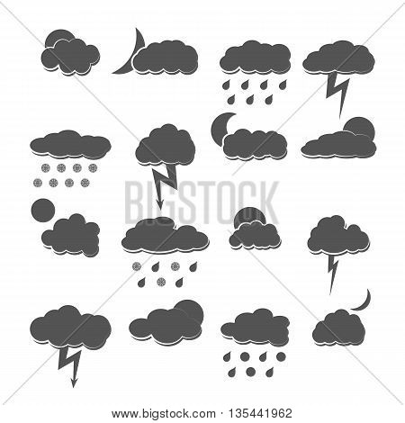 A set of gray icons weather isolated on white background clear and cloudy rain and snow vector illustration.