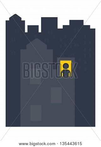 Lonely man night. Objects isolated on a white background. Flat vector illustration.