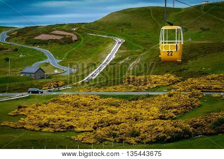 A yellow cable car exactly matches the yellow gorse below it