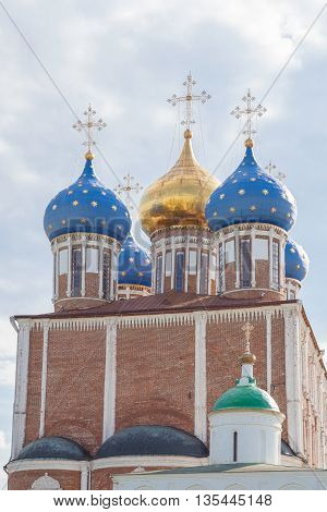 Huge orthodox church in Ryazan Kremlin, Russia