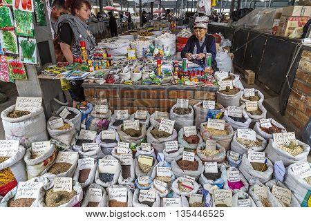 BISHKEK, KYRGYZSTAN - MAY 27, 2016: Osh Bazaar in Bishkek, Kyrgyzstan.