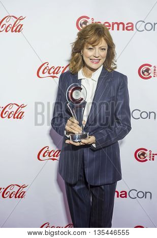 LAS VEGAS - APRIL 14 : Actress Susan Sarandon recipient of the Cinema Icon Award attends the CinemaCon Big Screen Achievement Awards at The Caesars Palace on April 14 2016 in Las Vegas