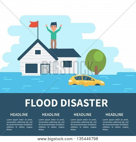 Flood disaster concept illustration with infographic elements. Flood disaster infographic.