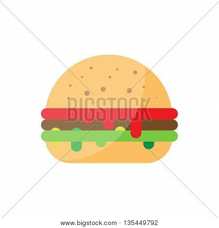 Flat burger illustration. Street bbq hamburger icon. unhealthy grilled beef vector. Isolated burger on white background. Street fast food