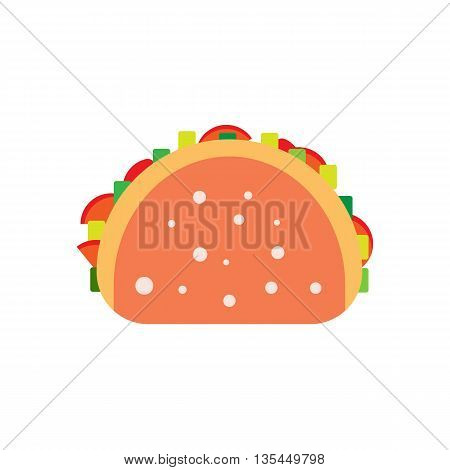 Flat burrito illustration. Street meal tortilla icon. unhealthy taco vector. Isolated fajitaon white background. Street fast food