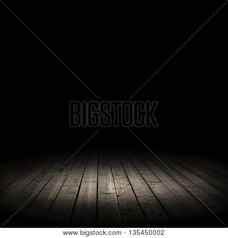 old wooden floor on a black background