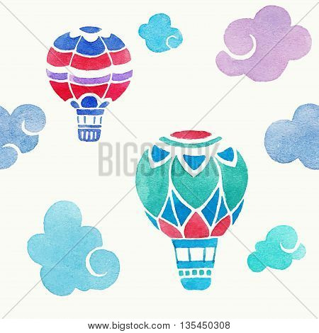 Aerostats in the sky. vector seamless pattern. watercolor illustration with aerostats and clouds