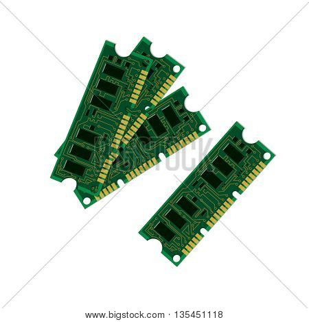 Vector illustration set electric circuit board various IC chips and electronic components. Green RAM memory chip on white background. Circuit board isolated