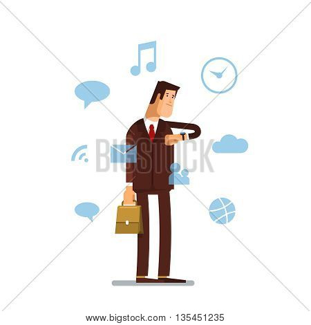 Man in a suit using his smart watch app on white background. Businessman looking on a screen of his smart watch. Businessman with modern smart watch and apps icons. Vector flat illustration