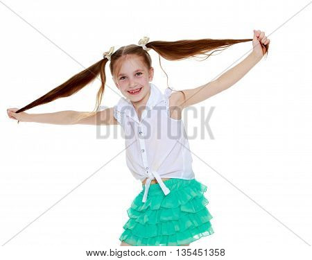 Funny little girl twitches his tail . close-up-Isolated on white background