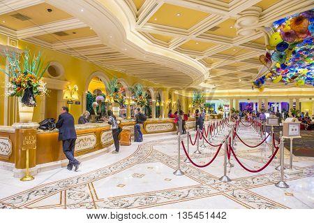LAS VEGAS - JUNE 14 : The Bellagio hotel loby on June 14 2016 in Las Vegas. Bellagio is a luxury hotel and casino located on the Las Vegas Strip. The Bellagio opened on 1998.