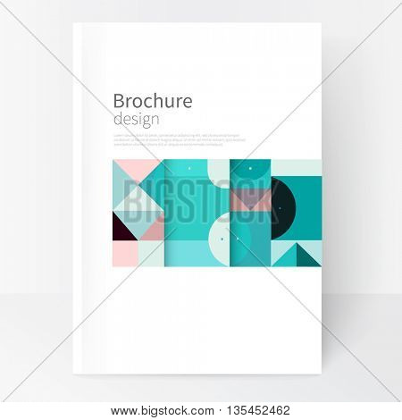 Minimalistic cover template. Book design creative concept  cover for catalogue, report, brochure. turquoise &  pink abstract geometric shapes. Squares, triangles and circles