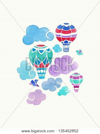 Aerostats in the sky. watercolor illustration with aerostats and clouds