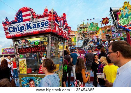 ROSTOCK / GERMANY - AUGUST 8 2015: ticket office for a fairground ride on hanse sail in rostock / germany at august 8 2015.