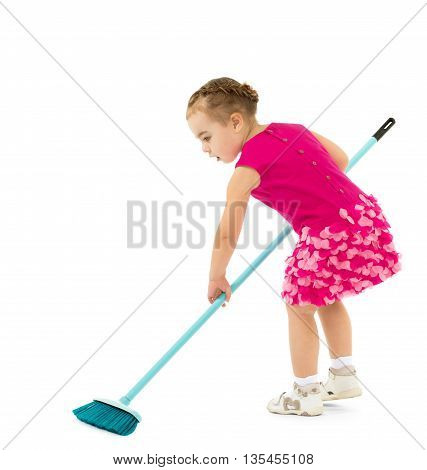 Little girl in red dress sweeping floor brush - Isolated on white background
