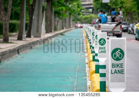 Bike lane along a street in Bangkok city