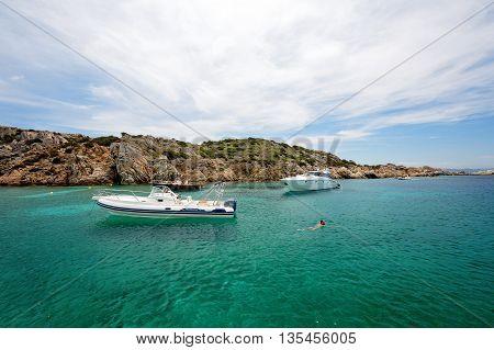 Maddalena / Sardegna (Italy): 22 June 2015: Cala Corsara Cove at Maddalena Archipelago in Sardegna