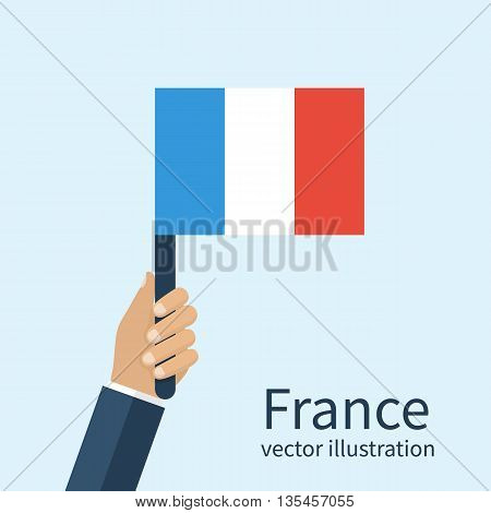 Flag of France a man holding in hands. Independence Day of the Bastille July 14. Vector illustration of a flat design. Isolated French flag in hands.