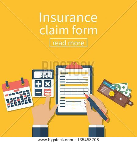 Insurance claim form. Man writes form holding clipboard in hand. Vector illustration flat design.
