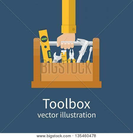 Repairman holding toolbox. Vector illustration flat design style. Hand with instrument isolated. Concept of repair services. Set instrument builder handyman.