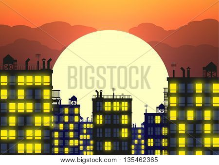 Silhouette of the city in late evening, buildings rooftops and evening sky with setting sun. vector illustration