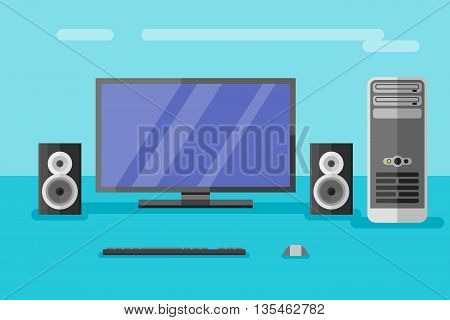Desktop computer with monitor, speakers, keyboard and mouse. Flat style vector illustration.