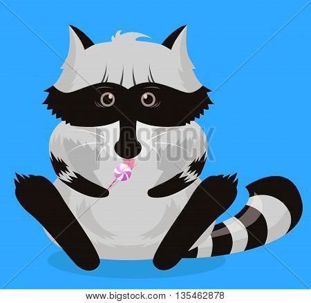 Funny raccoon.Vector Illustration. wildlife raccoon funny cartoon pet. Charming humorous raccoon.