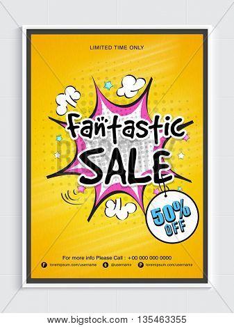 Fantastic Sale Poster, Sale Banner, Sale Flyer, Sale Background with pop art explosion, Sale Tag, 50% Off for Limited Time.
