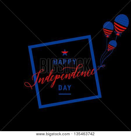 Fourth of July background. Felicitation cool fun postcard. USA Happy Independence day greeting card. Vector illustration with flag, balloon, star for congratulation american people isolated on black.