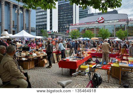 STOCKHOLM, SWEDEN - JUNE 12, 2016: Outdoors flea market in front of the Swedish Concert House at Hotorget in Stockholm Sweden