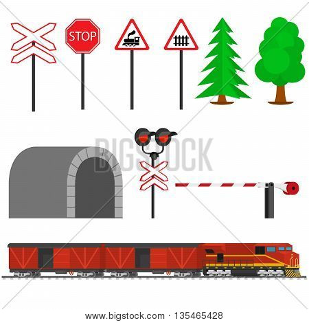 Railroad traffic way and train with boxcars. Railroad train transportation. Railway equipment with signs, barriers, alarms, traffic lights. Flat icons vector illustration.