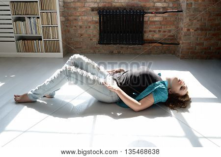 sexy woman on the floor in provocative pose