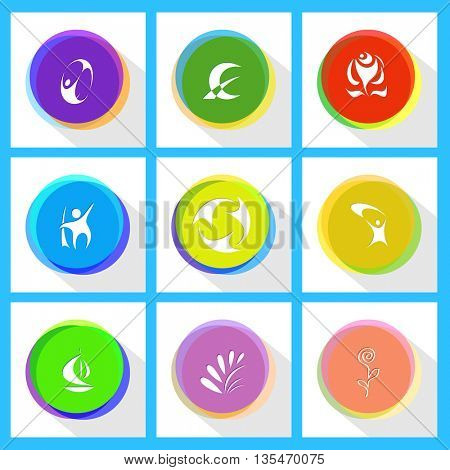 abstract rose, monetary sign, skydiver, little man, recycle symbol, flower, plant, ship. Abstract set. Internet template. Vector icons.