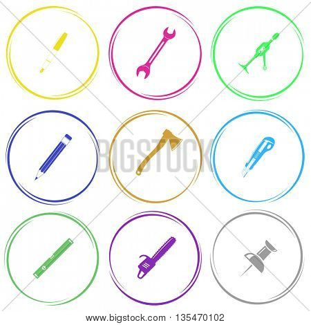 ink pen, spanner, hand drill, pencil, axe, knife, spirit level, gasoline-powered saw, push pin. Angularly set. Internet button. Vector icons.