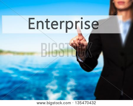 Enterprise - Businesswoman Hand Pressing Button On Touch Screen Interface.